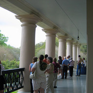 A tour group on the second floor porch at Oak Alley Plantation (near New Orleans).