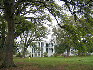 Thumbnail image of A side view of the mansion at Nottoway Plantation...