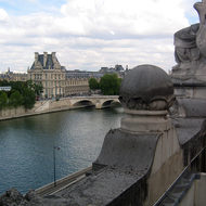A view from the upper floor of the Orsay Museum, looking across the Seine to the Louvre.
