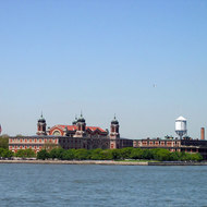 Approaching Ellis Island, New York Harbor.