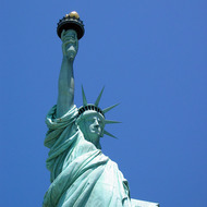 A close-up of the Statue of Liberty.
