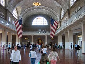 Thumbnail image ofThe arrivals hall on Ellis Island.