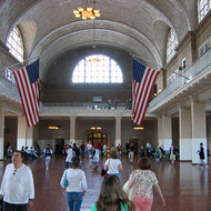 The arrivals hall on Ellis Island.