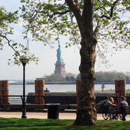 A view of the Statue of Liberty from Ellis Island.