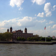 A view of Ellis Island.
