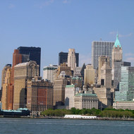 A view of lower Manhattan from the Statue of Liberty/Ellis Island ferry.