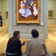 The gallery setting of the Daughters of Catulle Mend�s, 1888, by Renoir.