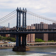 A view of the Manhattan Bridge from the Brooklyn Bridge.