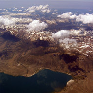 Aerial view of Mono Lake and the Sierra Nevada Mountains, mid-July 2005