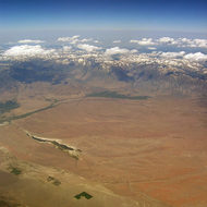 Aerial view of Eastern Nevada and the Sierra Nevada Mountains, mid-July 2005