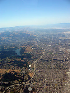 Thumbnail image ofAerial view of the East Bay, including Lake Chabot.