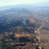 Aerial view of the East Bay, including Lake Chabot.