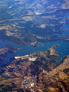Thumbnail image ofAn aerial view of New Melones reservoir, mid-July...