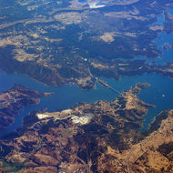 An aerial view of New Melones reservoir, mid-July 2005.