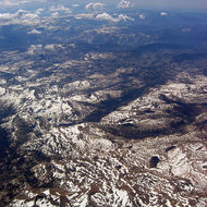 Aerial view of the Sierra Nevada Mountains, mid-July 2005