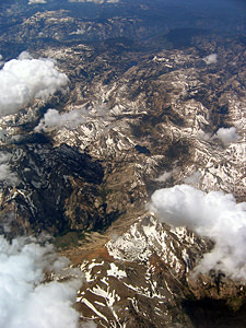 Thumbnail image of Aerial view of the Sierra Nevada Mountains, mid-July...