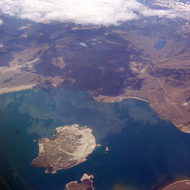 Aerial view of Mono Lake, mid-July 2005