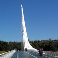 The Sundial Bridge at Turtle Bay, spanning the Sacramento River at Redding.
