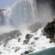A view of Niagara Falls with the stairs.