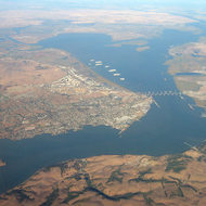 The Carquinez Straits with Benicia on the left and Martinez on the right.