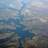 An aerial view of Shasta Lake.