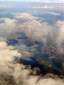 Thumbnail image ofAn aerial view of Mt. Shasta in late summer.