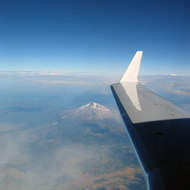 An aerial view of Mt. Shasta in late summer.