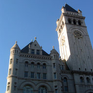 The tower of the Old Post Office building on Pennsylvania Avenue in Washington, DC.