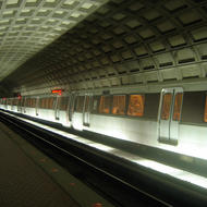 The interior of a Metro station in Washington, DC.