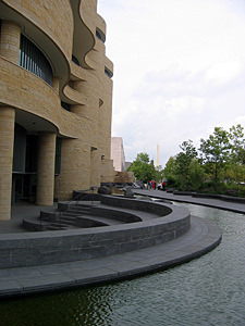 Thumbnail image ofThe exterior of the Museum of the American Indian...