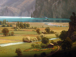 Thumbnail image ofA close-up of part of the painting Lake Lucerne...