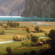 A close-up of part of the painting Lake Lucerne by Albert Bierstadt, The National Gallery of Art, Washington, DC.