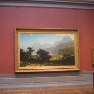 The gallery setting of the painting Lake Lucerne by Albert Bierstadt, The National Gallery of Art, Washington, DC.
