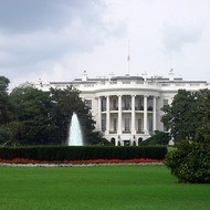 A close-up of the White House, Washington, DC.