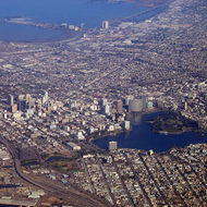 An aerial view of Oakland and Emeryville, with Lake Merritt.