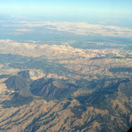 An aerial view of Mount Diablo looking toward the San Joaquin Delta region.
