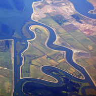 An aerial view of the San Joaquin Delta region.