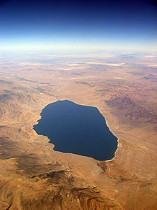 Thumbnail image of An aerial view of a lake in the Basin and Range...
