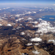 An aerial view of the Eastern Sierra Nevada and Mono Lake.