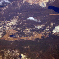 An aerial view of Tuolumne Meadows, Yosemite National Park.
