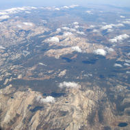 An aerial view of Tuolumne Meadows and surrounding area, Yosemite National Park.