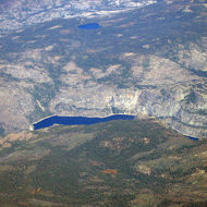 An aerial view of Hetch Hetchy Reservoir.
