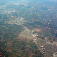 An aerial view of the California Central Valley.