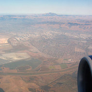 An aerial view of the East Bay, with Mount Diablo in the background.