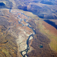 An aerial view of the Snake River just outside of Jackson Hole, Wyoming.