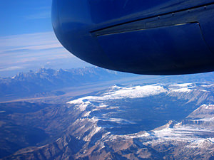 Thumbnail image ofAn aerial view of the Grand Tetons while in transit...