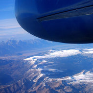 An aerial view of the Grand Tetons while in transit from Jackson Hole, WY to Denver, CO.