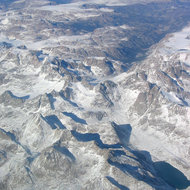 An aerial view of the Rocky Mountains on the flight path from Jackson Hole, Wyoming to Denver, Colorado.