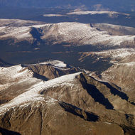 An aerial view of the Rocky Mountains near Denver, CO.