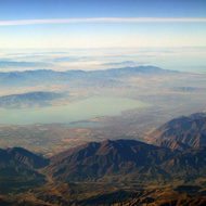 Flying southeast of Provo, Utah, looking northwest to Utah Lake and the Great Salt Lake.